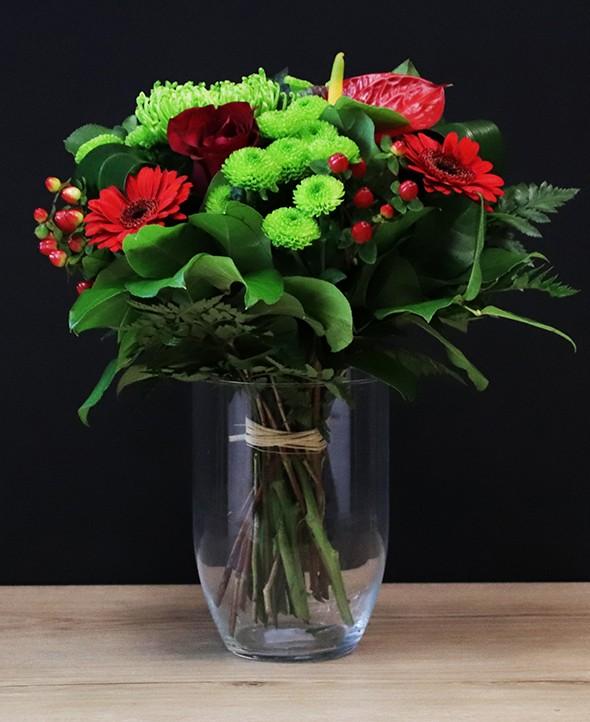 Premier rendez-vous - Bouquet de fleurs rouge